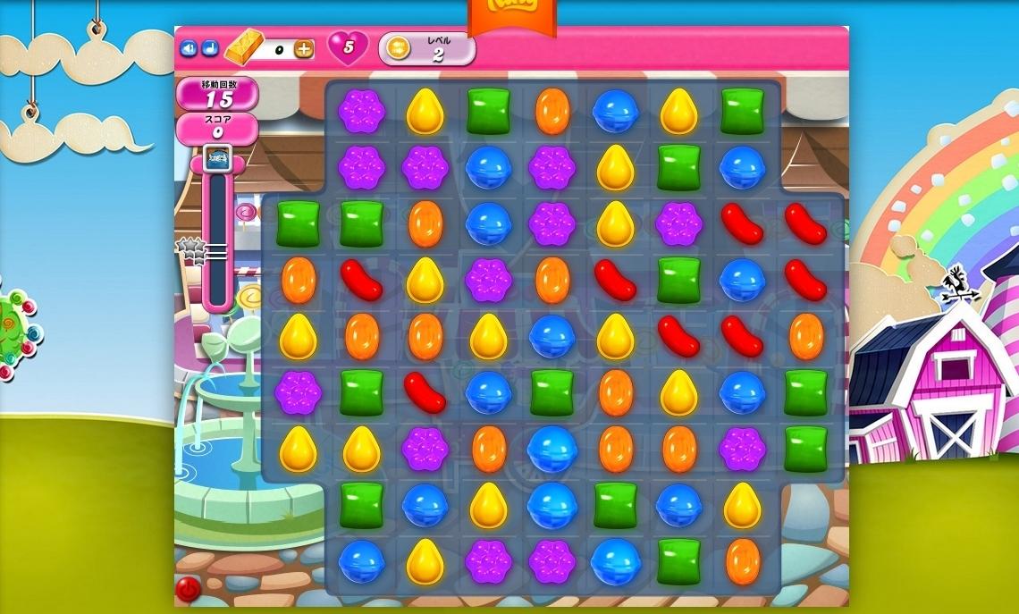 『キャンディークラッシュ』。スマートフォン向けアプリの印象が強いが、Webブラウザ上などでも遊ぶことができる。