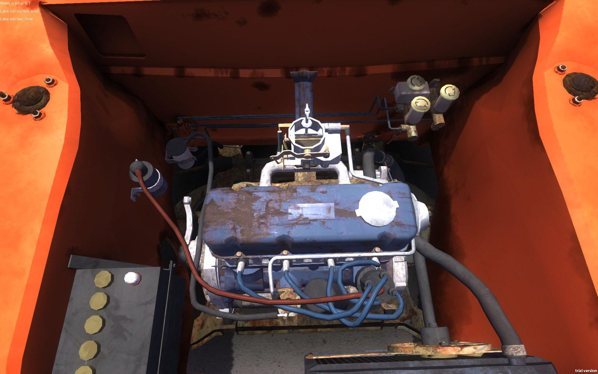 エンジン内部。工具で改造や修理が出来る。開発者いわく「かなり難しいハードコアな車パズル」