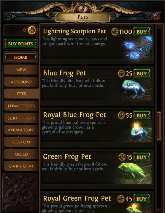 その一例。ゲーム的に何の意味もなく、プレイヤーキャラの周りを動きまわるだけの「Pet」の項目がやたら充実している。