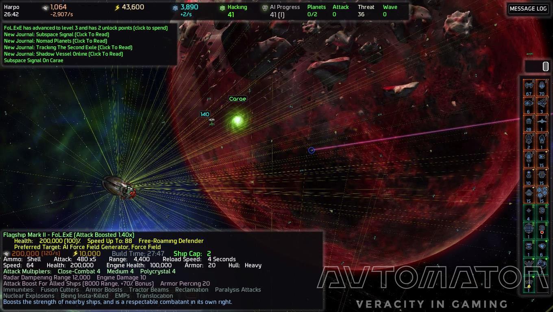 左下の大きな船が宇宙船。まわりにいるケシ粒が戦闘艇。 それぞれにステータスや攻撃倍率など説明がある。一時停止のおかげでじっくり読める。