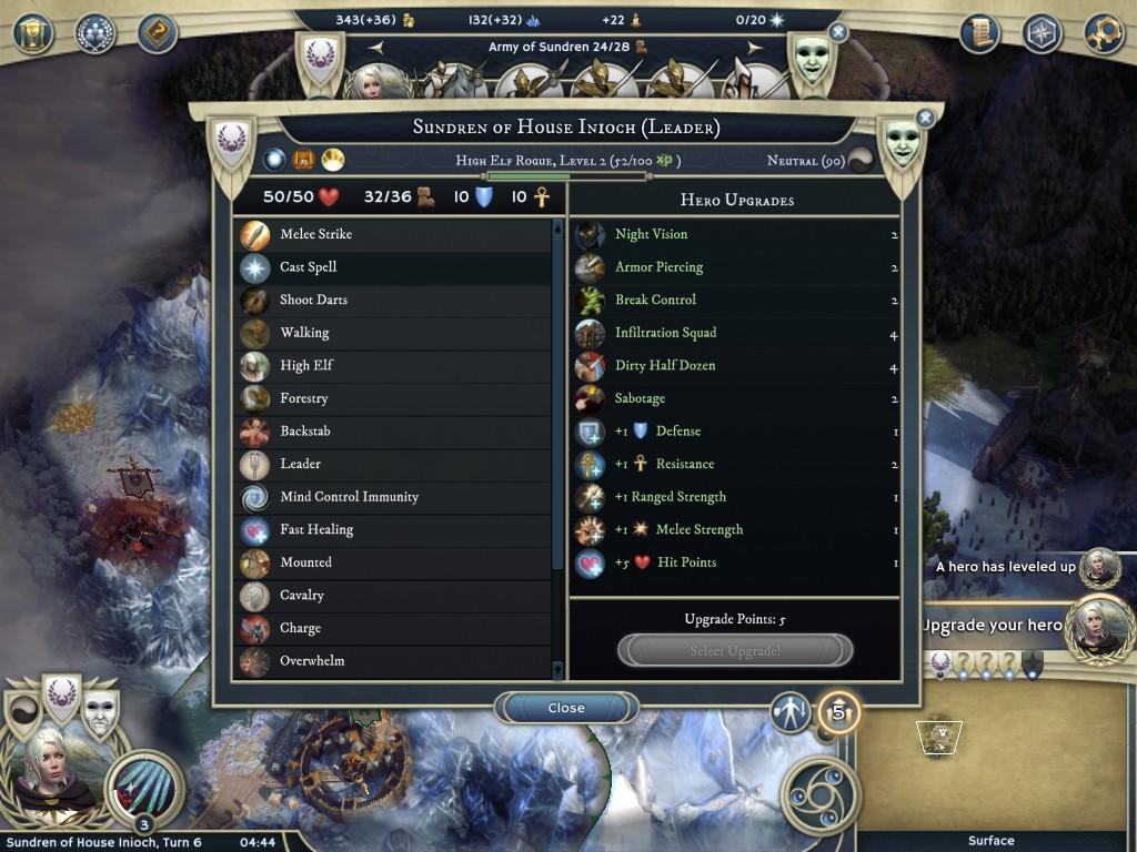 レベルアップ画面。ポイントを消費してステータス上昇やスキルをアンロックする。スキルはキャラクターの職業によって決まる。
