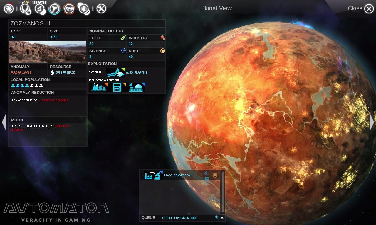惑星管理画面。左半分の詳細に対し、右半分に情報は何もない。惑星そのものの様子を美麗グラフィックで表示することで宇宙ゲームとしての雰囲気をかもしだしている。