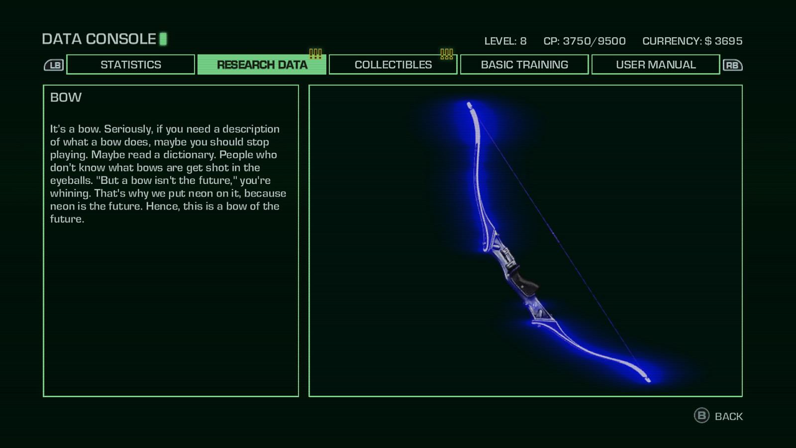 """映画『トロン』の影響をあらわす一例として、『Far Cry 3: Blood Dragon』に登場する弓を紹介する。 「""""弓は未来ではない""""と君は考えるだろう。だからネオンをつけた。ネオンは未来だ。ゆえにこの弓は未来だ」 ネオンは未来のメタファーとして用いられている。"""