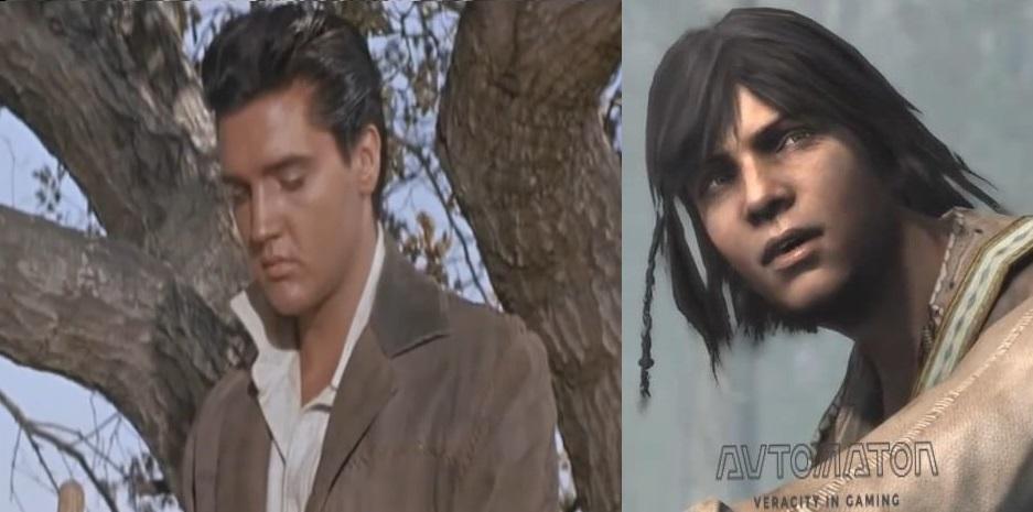 左の画像は映画「燃える平原児」より。右の画像は『アサシン クリードIII』の主人公コナー。インディアンに限った話ではないが、混血というテーマは、どこにアイデンティティを置くかの葛藤が描かれる傾向にある。「燃える平原児」では実際にチェロキーの血を引くエルヴィス・プレスリーが、等身大で混血のジレンマを演じている。このテーマを扱った西部劇の作品では最良作だ。