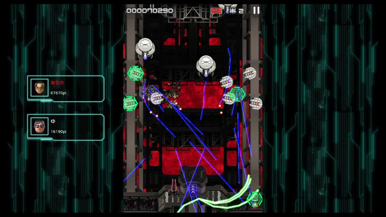 静止画ではこのゲームのみなぎる殺意がいまいち伝わらないのが残念です。 画面上の青いのは全部誘導レーザーです。