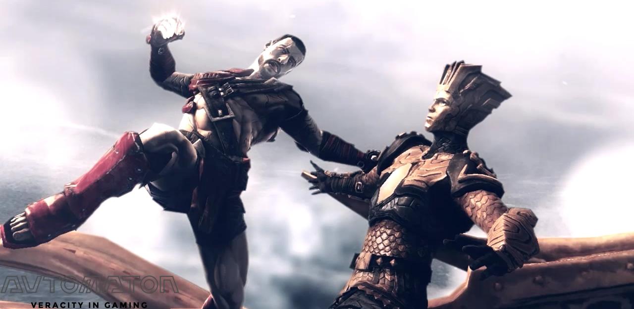 プレイヤーはプロメテウス(左)。オープニングではヘリオスと激しい戦いを繰り広げます。 多言語(日本語含む)に対応していますが、カットシーンでは字幕が表示されないため、ストーリーがわかりにくいかもしれません。