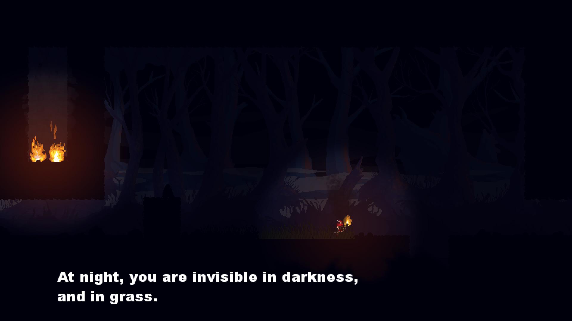 ぱっと見ではわからないかもしれないが、このスクリーンショットのなかで主人公は暗闇に隠れている。