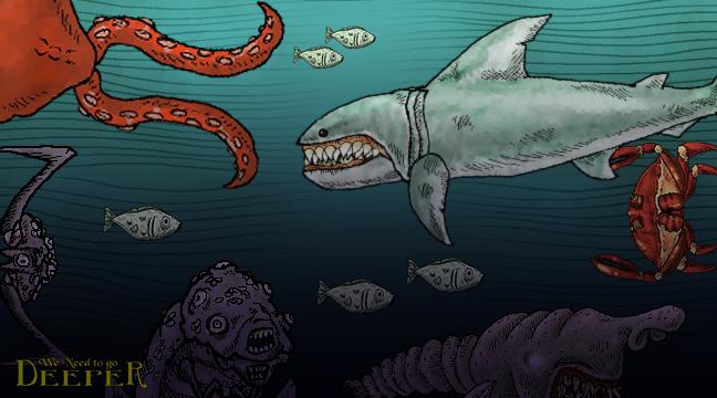 肉食ザメ、触手の化け物、巨大ガニ。暗闇の深海に恐怖という名の花を添えるクリーチャー達
