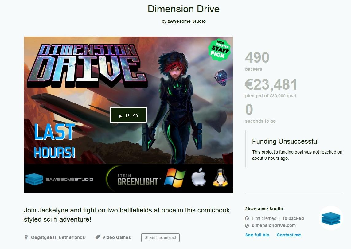 Dimension DriveのKickstarterファンディングは失敗に終わった