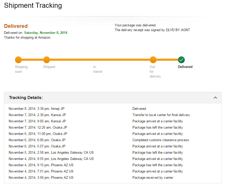 Amazon.comの購入は発送追跡できる。 アリゾナ州フェニックスからカリフォルニア州ロサンゼルス、大阪、関西倉庫、姫路(筆者自宅)と配送状況がわかるため安心感がある。 (原寸画像)