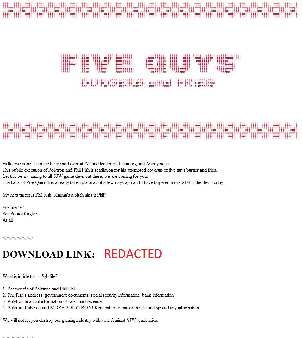 ハッキングした事実を高らかに宣言する4chanのメンバーたち。 なお事件名の元ネタは海外の人気バーガーチェーン「Five Guys Burgers and Fries」。