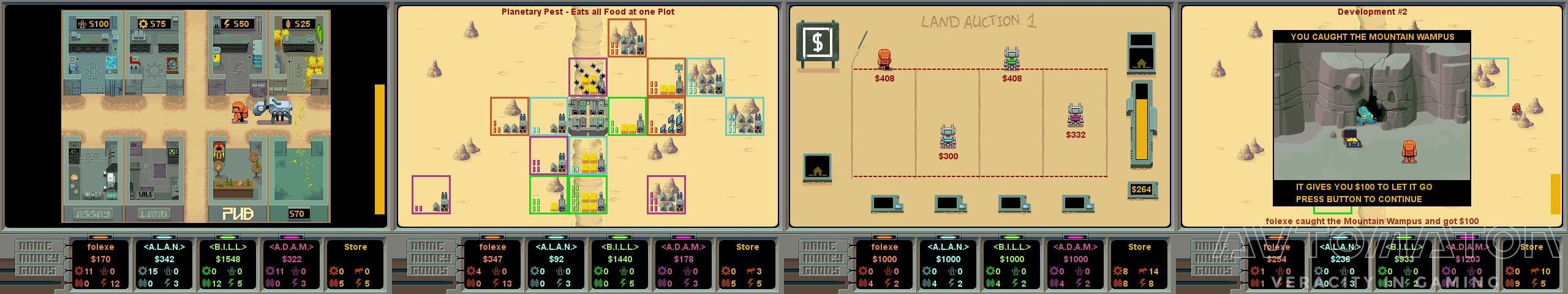 画像はクローンゲーム『Planet M.U.L.E.』。汎用労働ラバ「M.U.L.E.」で資源を収穫し惑星一の大富豪を目指す。 プレイヤー間で資源や土地を競売する経済ストラテジーだ。(拡大画像)