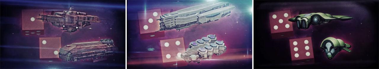 艦隊ダイスの振り直しで、移動力・戦闘力・特殊能力の選択肢が広がる。