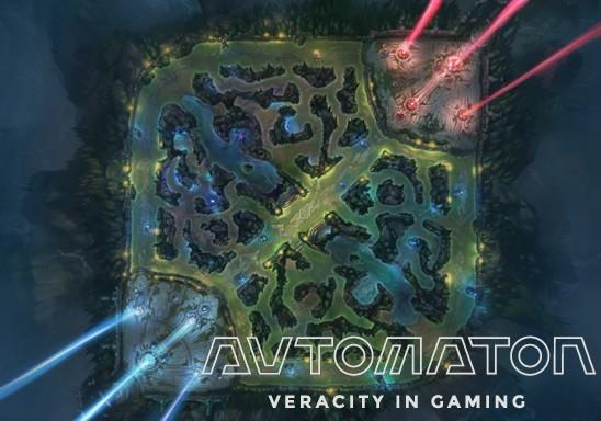すべての基本となるマップ「Summoner's Rift(サモナーズ リフト)」の全景。 「MOBA」ゲームでは、もっとも見られるスタイルのマップデザインだ。