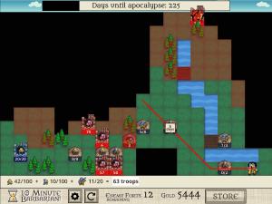 戦略画面。アポカリプスを迎える前に兵士を集め、占拠地を増やさなければならない