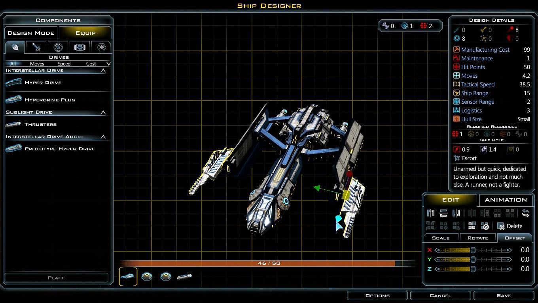 艦船設計画面。先の宇宙基地で得た資源でより強力な武器を搭載し、軍事力で外交を改善しよう。 3Dモデルソフトのように、オブジェクトの拡縮や回転を操作するユーザインタフェースが追加され快適になった。