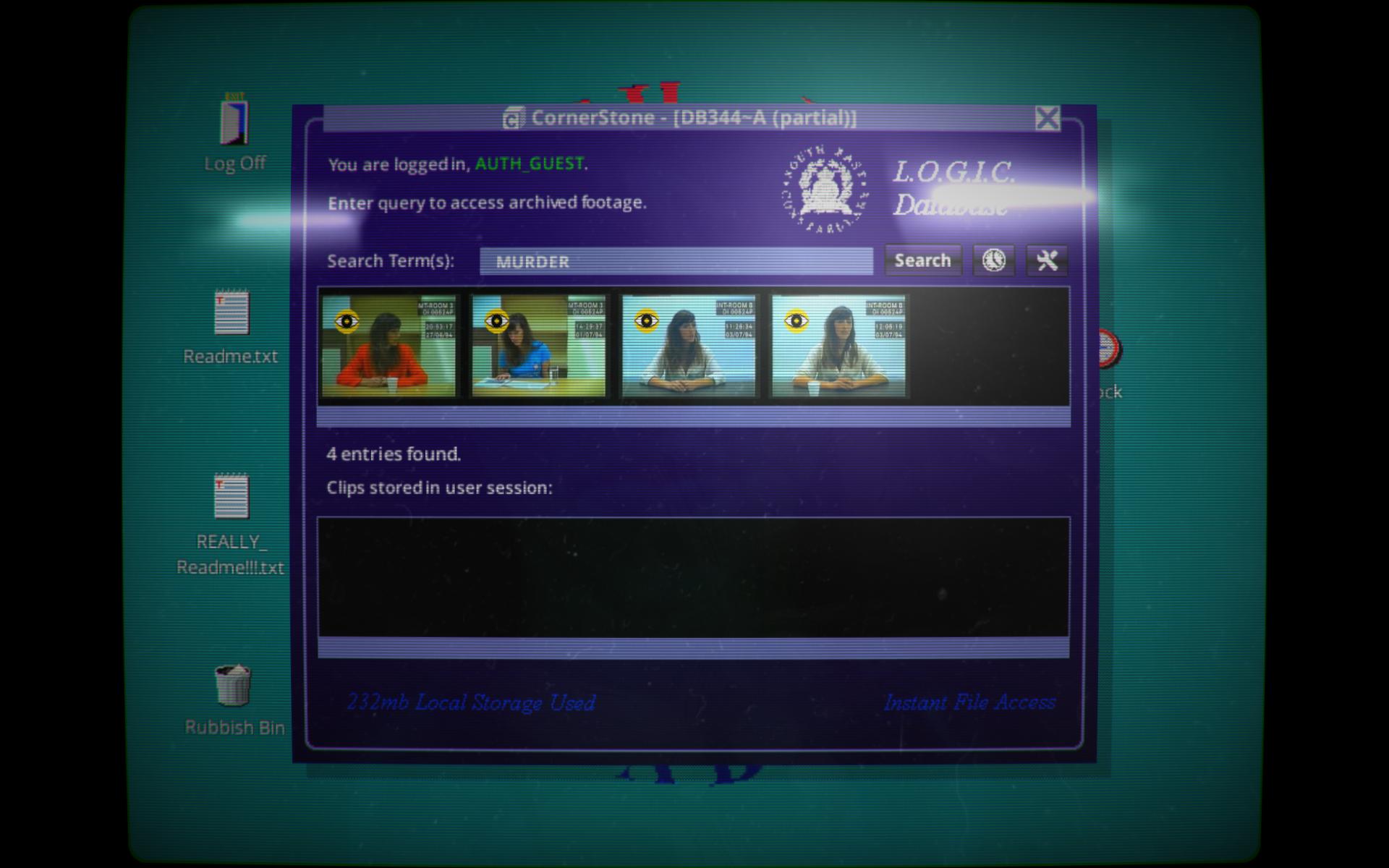 初期画面。デフォルトで入力されている「MURDER」という単語で検索してみたところ。「MURDER」と発言している4件の動画が検索結果として出力されている。
