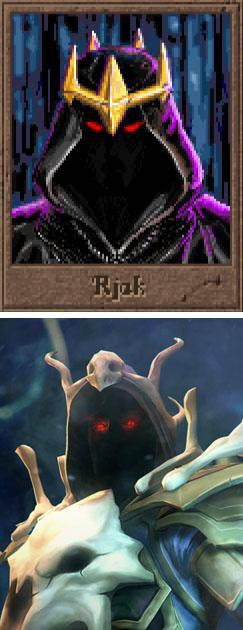 上はファンタジー4X-TBSの始祖『Master of Magic』のRjak。下はソーサラーキング。闇の王たる者、フードを深くかぶらねばならぬ。