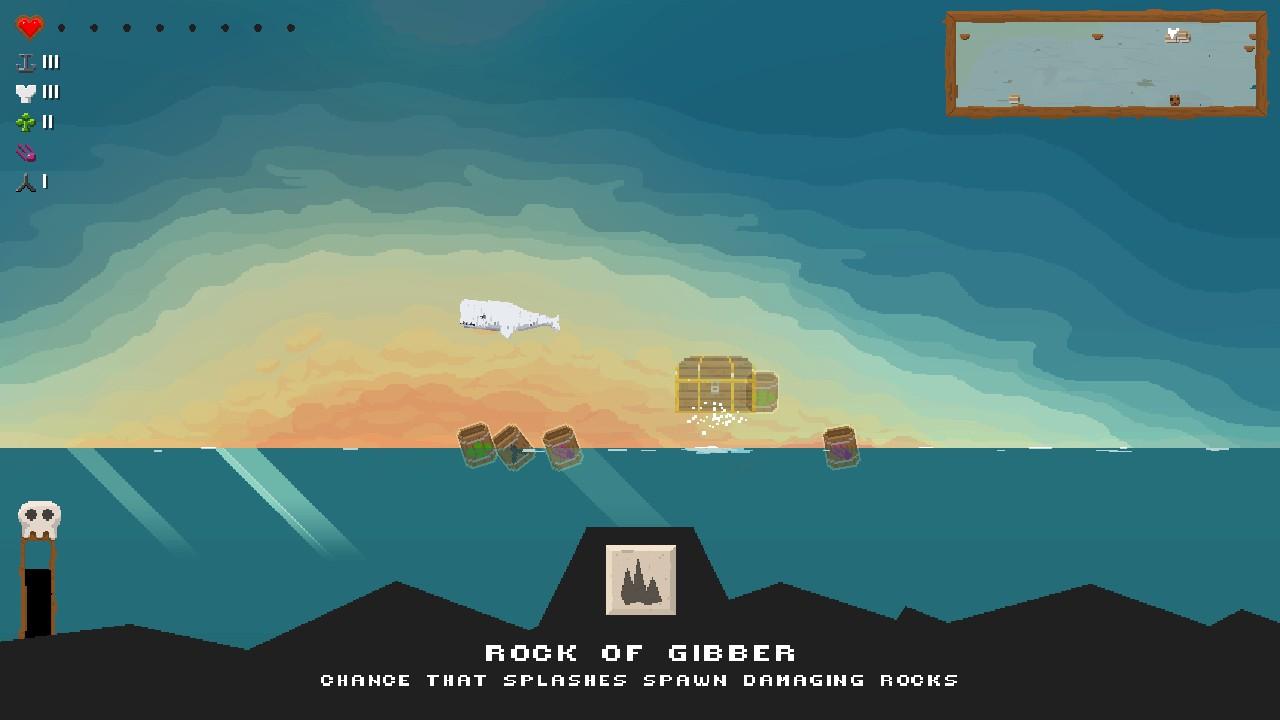 「Rock of Gibber」を入手すると、水面に岩の山が出現して船を攻撃してくれるようになる。ほかにも巨大な回転ノコギリや、とても鯨とは思えない攻撃方法レーザービームもある。