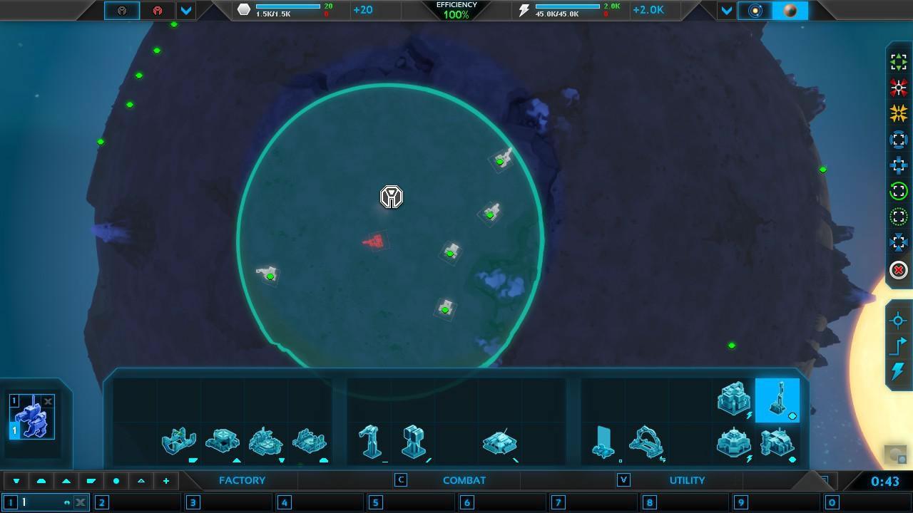 資源施設「メタル精製所」の作成をエリア指定する図。ドラッグで範囲(画面中央の円状)をひろげるだけで、自動的に適した場所で作成する。攻撃選択も同様に、ちょこまか動く敵ユニットをクリックせずともエリア指定で済む。