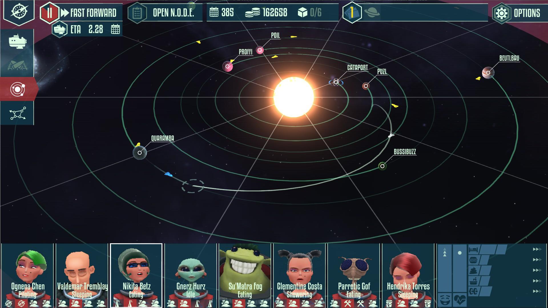 星系画面。惑星の公転速度で宇宙船の航路がきまる。出発点・到着点で航海時間は変動し、制限時間付きの仕事を単調なものにしない。