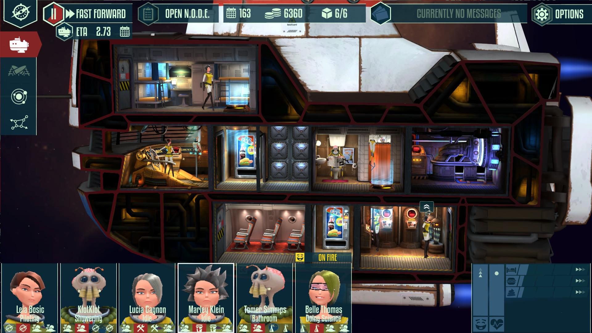 航海中はこの船内画面ですごす。宇宙船は究極の住み込み職場だ。船はかれらの仕事場であり、家でもある。「アットホームな職場です」
