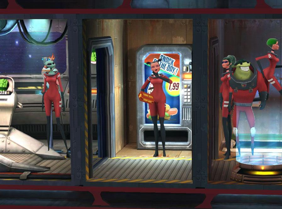 経営者の都合で船内にひとつしかない軽食バーと、空き待ちのクルーたち。欲求解消に支障がでている。