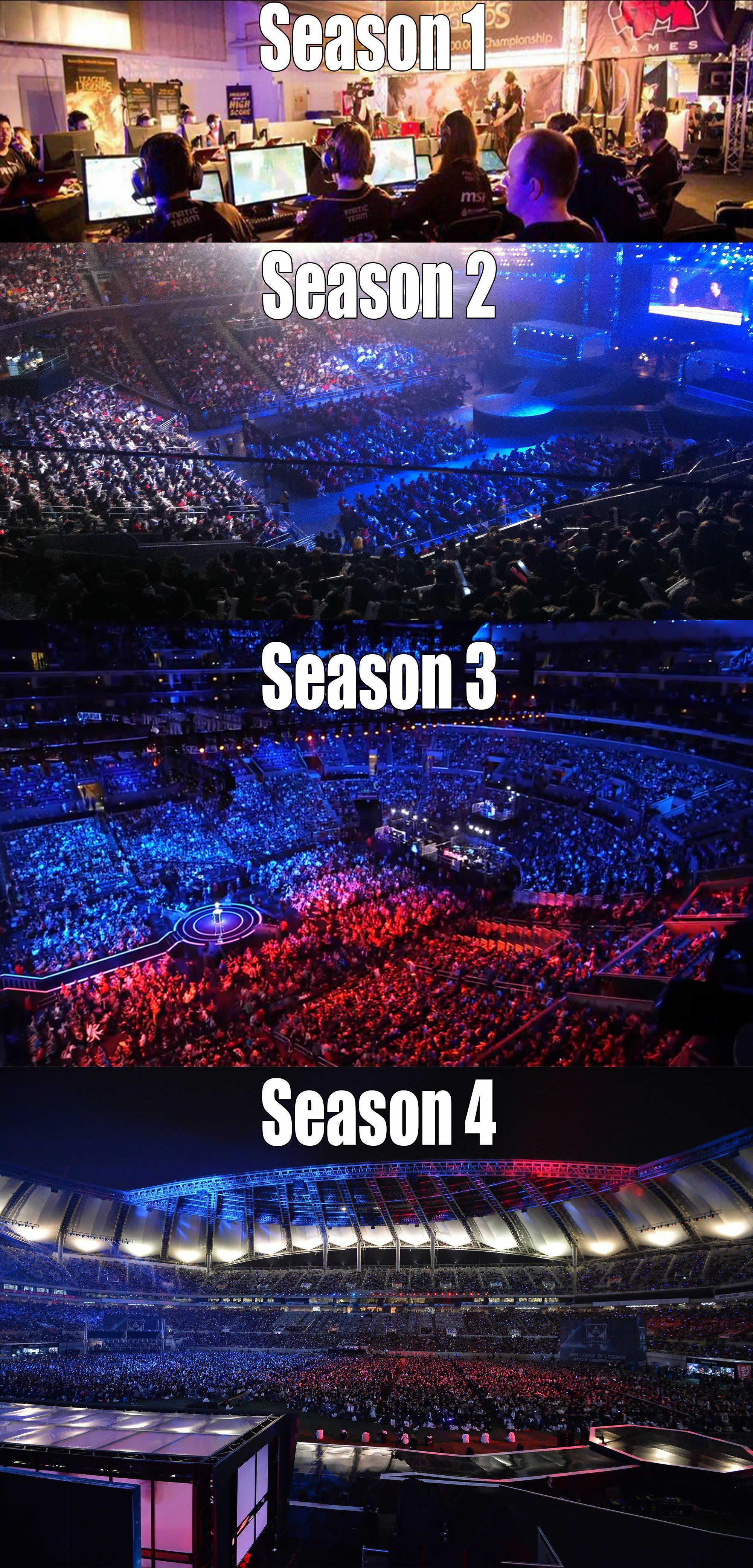 LoL World Championshipの進化。2011年のSeason 1決勝戦はどこかのLANパーティーのような狭い会場で行われたが、その後は年々開催規模が大きくなっている。昨年のSeason 4決勝戦は、韓国のソウルワールドカップ競技場で大観衆が見守る中で行われた。画像参照元: Evolution of league of Legends (LoL) since season 1