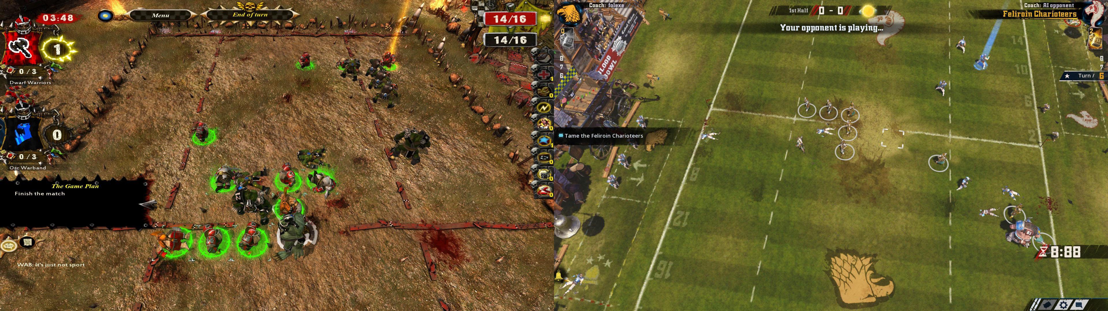 前作『Blood Bowl: Chaos Editon』(画像左)と本作(画像右)の画面比較。ゲームルールは同じだが、UIはファンタジー調にこだわるのをやめたことで、すっきりしたものとなった。