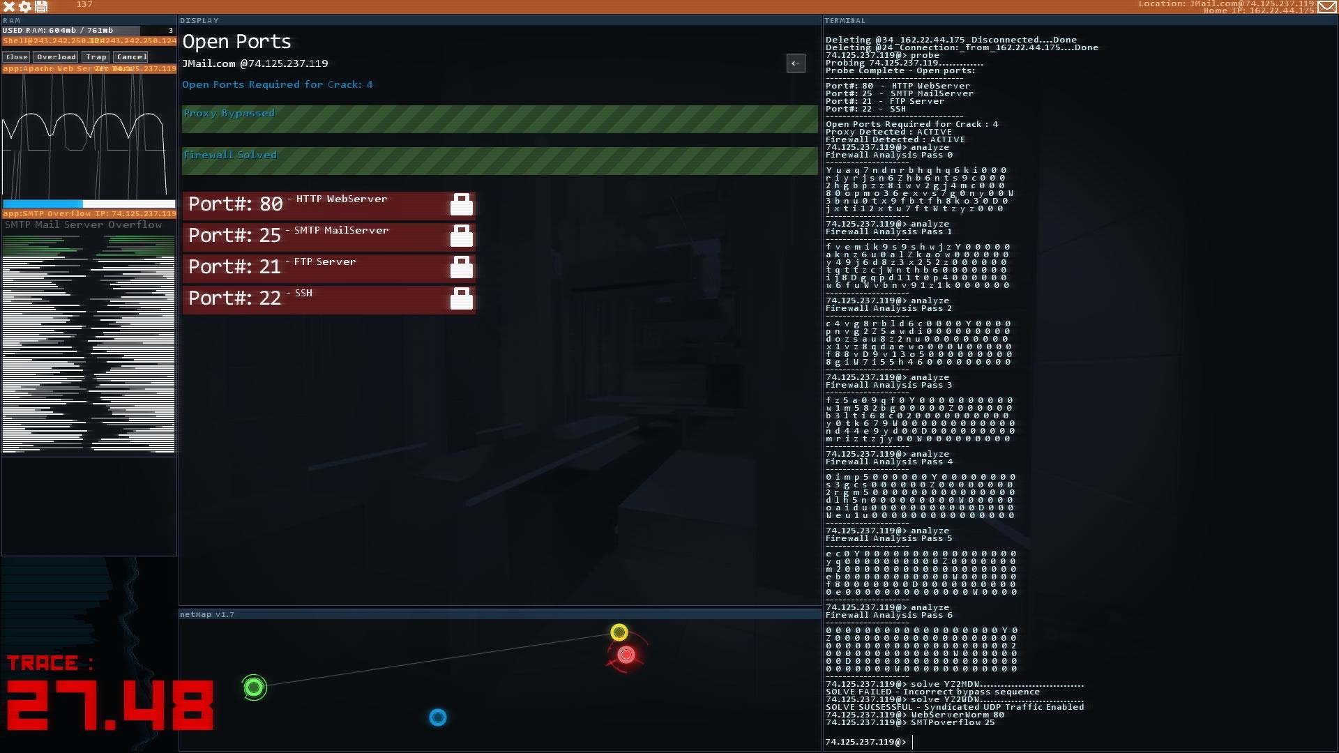 左下の赤い数字が逆探知のカウンター。相手の探知よりも早く、右下のターミナルからハッキングを実行しなくてはならない