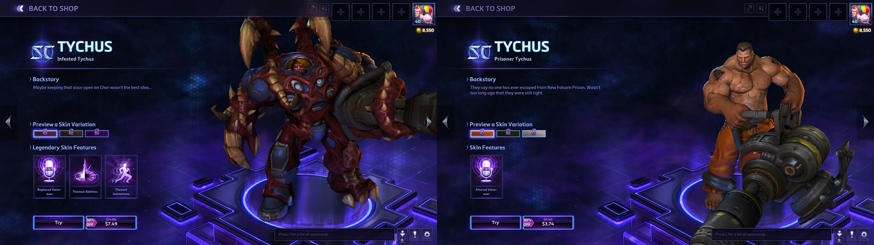 Infested Tychus: $7.49 / Prisoner Tychus: $3.74