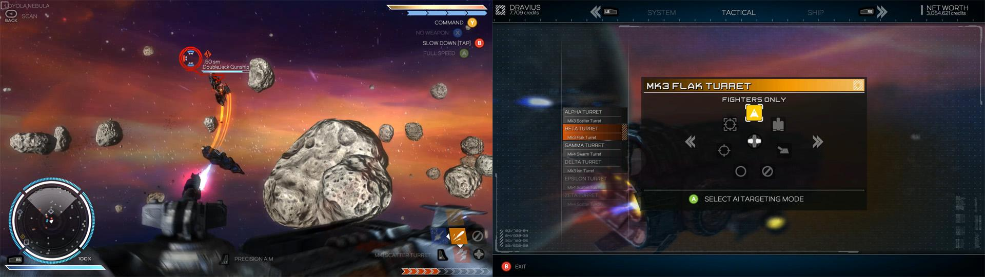 画像左: 側面以外の方向は船殻にとりつけた砲台が担当する。旋回し、射角が広く、立体機動する戦闘機に対処しやすい。砲台操作時は照準に斉射でき、対象への火力が高い。1発で墜ちないためオートエイムがアシストする。 画像右: 主砲操作時は各砲台が自動で攻撃する。照準対象を対機・対船と設定でき、対船ロケット・EMPバーストといった副砲とともに主砲戦を補佐する。操作技術や仕事のヤマにあわせた宇宙船を設計しよう。