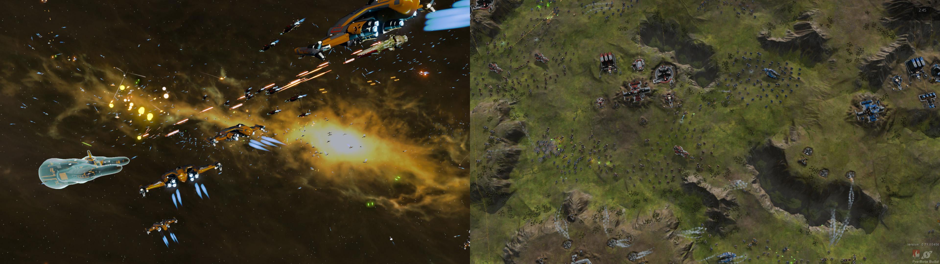 画像左が『Star Swarm』。ユニット数4000以上をうごかし、爆発・ビーム・発射光にいたるまで個別で光源処理する。画像右は本作ベンチマーク。光源処理は先と同様だ。大量ユニットの管理・描画に特化した。