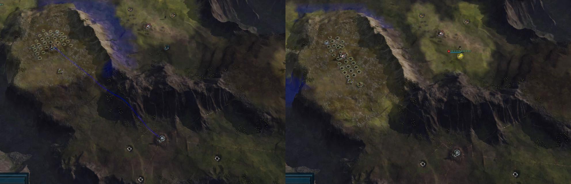 画像左の師団に峡谷越えを指示すると、画像右のように縦列をくみ、せまい進路に対応する。このとき、AIは即座に陣形を再展開できるよう、戦車・自走砲のかたよりをふせぐ。RTS初心者より有能だ。この仕組みは、地形と師団展開に大きく影響する。せまい場所では複数の師団を展開できず、数量差を打ち消しやすい。