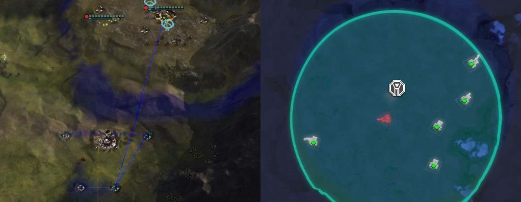 画像左は本作。資源施設を建設できる場所はきまっており、正確なエイムを要する。画像右は『Planetary Annihilation: TITANS』の資源施設の建設。ドラッグで範囲指定するだけで、建設指定やその順序を自動処理する。前者の古臭くわずらわしいつくりとくらべ、後者は操作量がすくなく、なにより直感的だ。