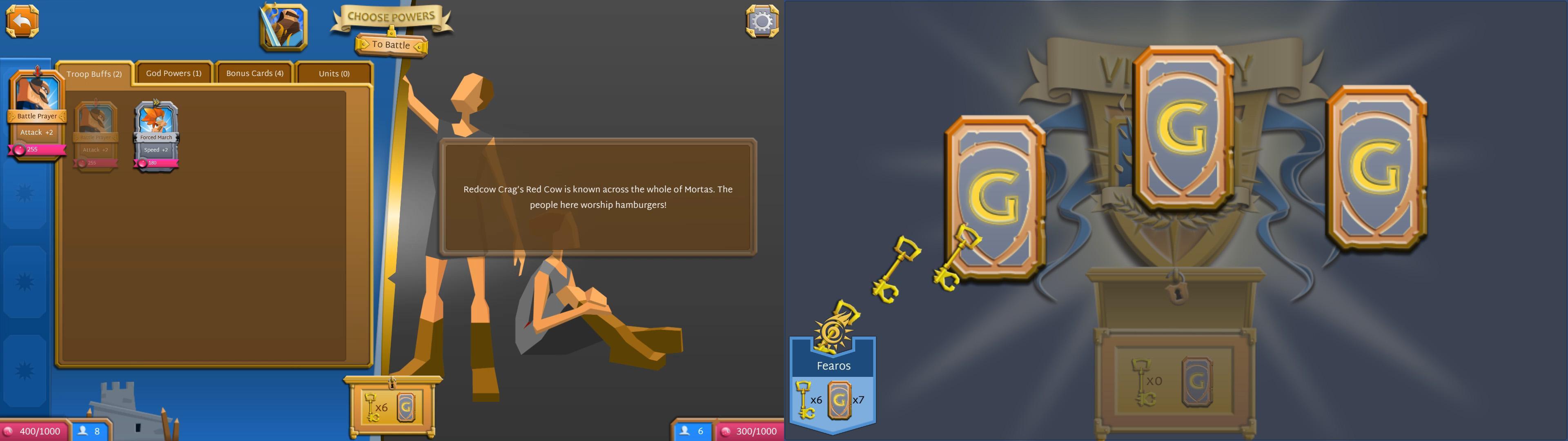 画像左:ステージ開始前にゴッドパワー・消費カードを選ぶ。消費カードはステージ中つねに強化を得る。 画像右:ステージをクリアすると鍵・カードを入手できる。鍵はつぎのステージのアンロックにつかう。