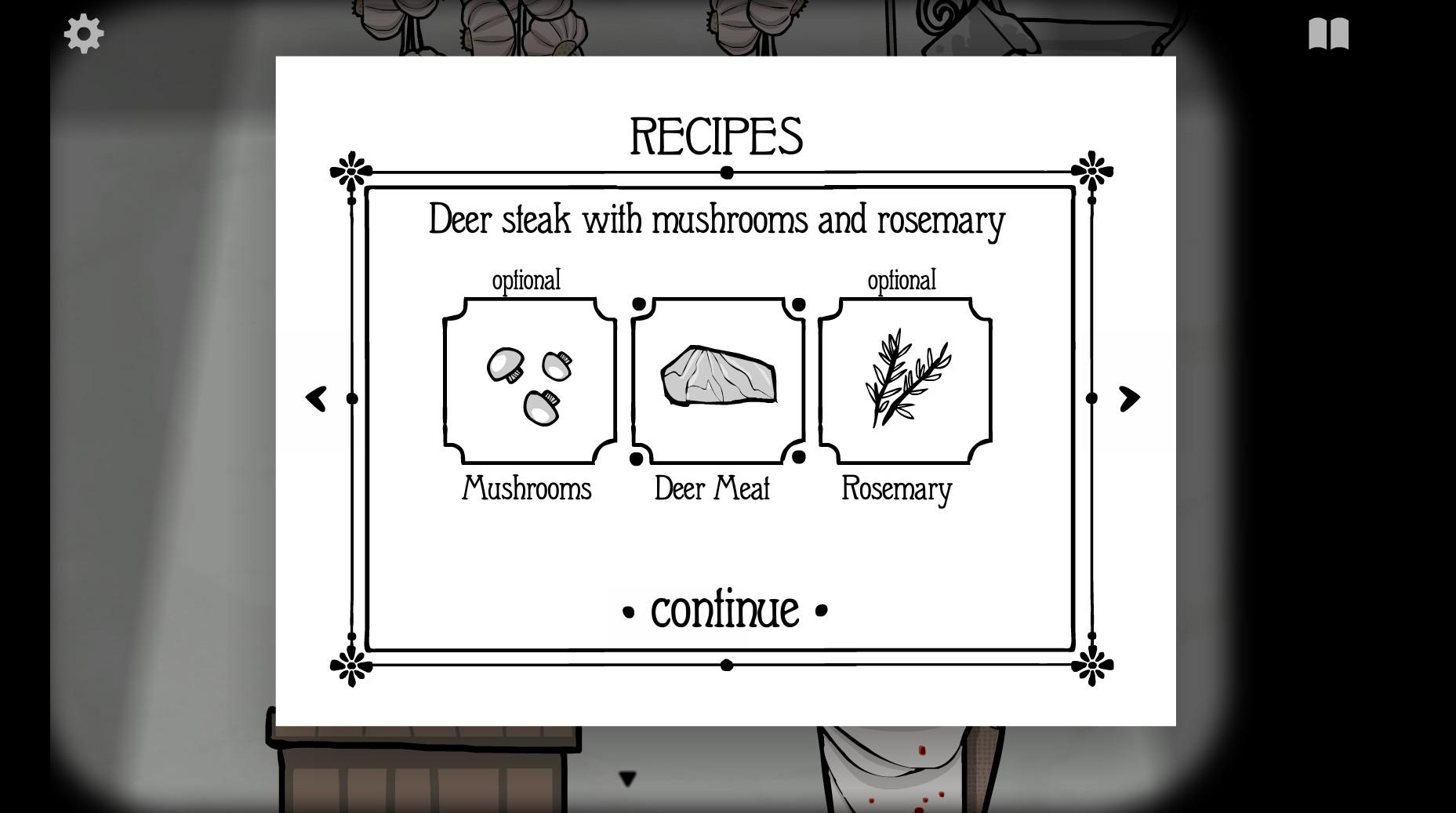 最初のディナーは鹿肉のステーキ マッシュルームとローズマリー添え。おいしそうだなあ。