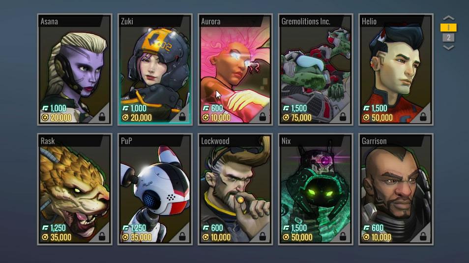キャラクターのアンロック画面。緑の数値がゲーム内通貨。黄色の数値がゲームプレイポイント。