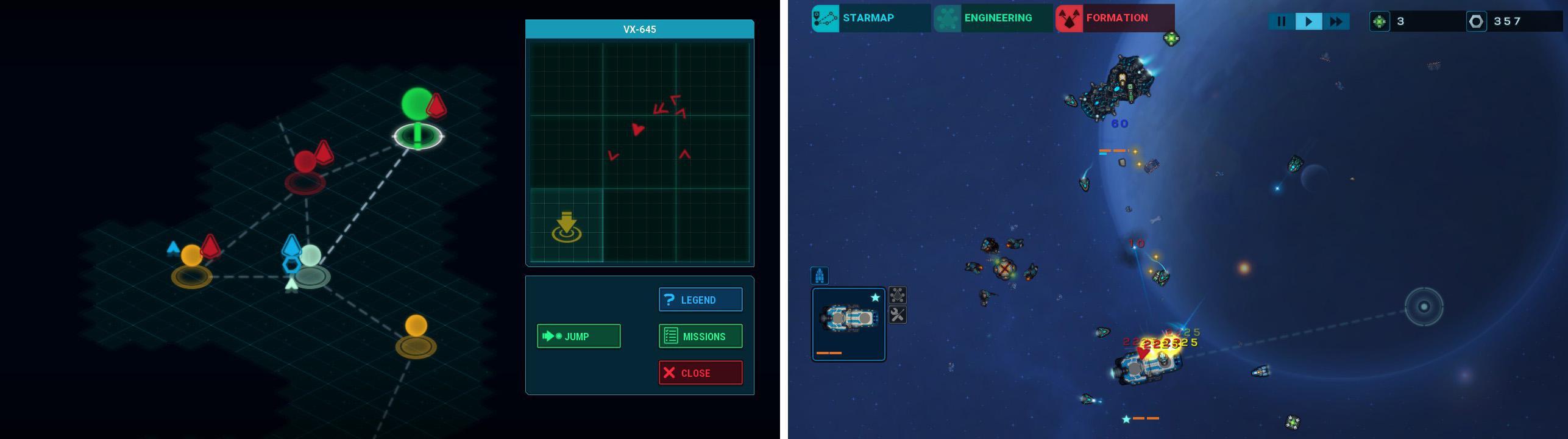 画像左: 移動パート。移動先の星系と、ワープアウトする位置を決めてジャンプする。 画像右: 戦闘パート。リアルタイム制ストラテジー。基本的には移動と戦闘のくりかえし。『FTL』のように移動先での選択式イベントはない。