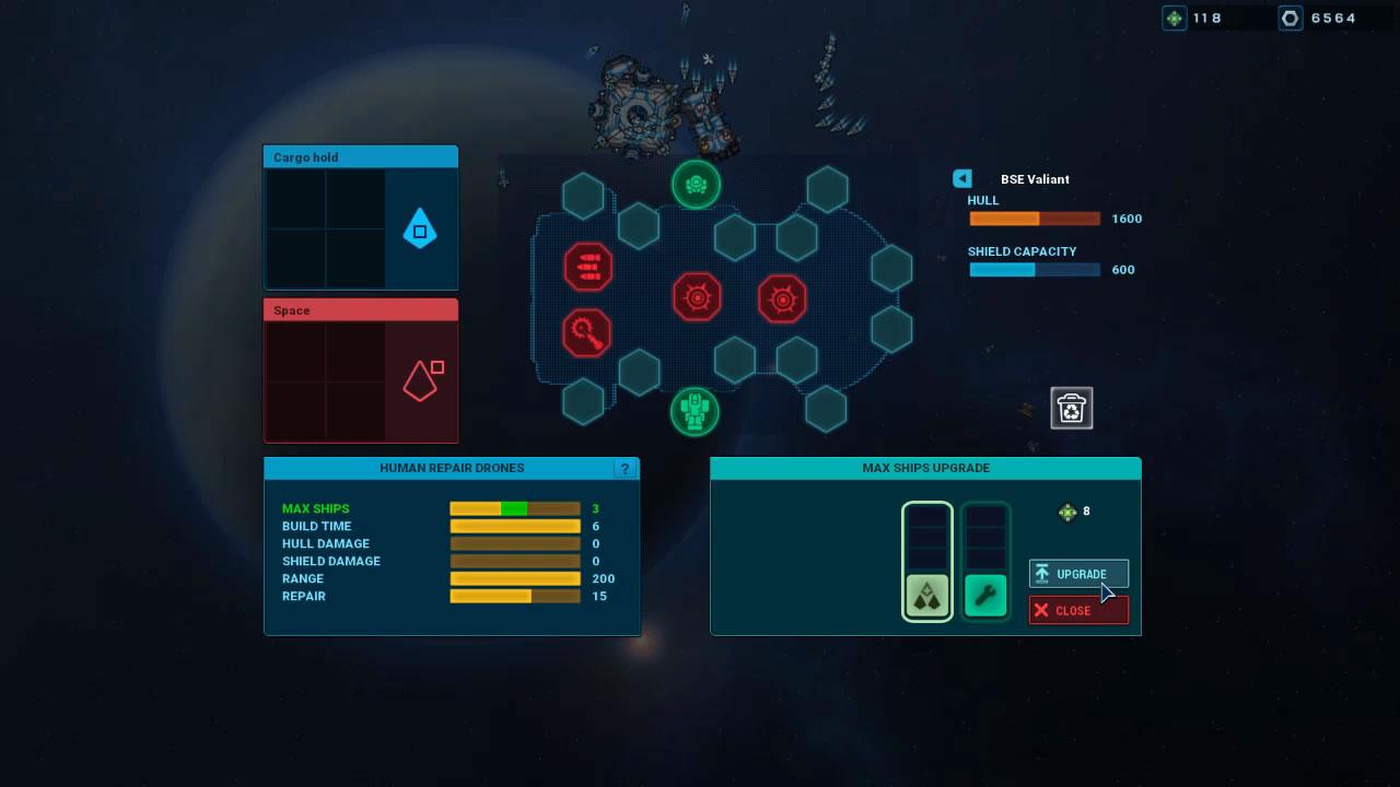 艦船設計。赤の八角形は360度旋回する主砲スロット。青の六角形は射角がある対空用副砲スロット。緑の丸型は艦載機スロット。艦船そのものに経験値はなく、砲台を個別にアップグレードする(画面右下)。