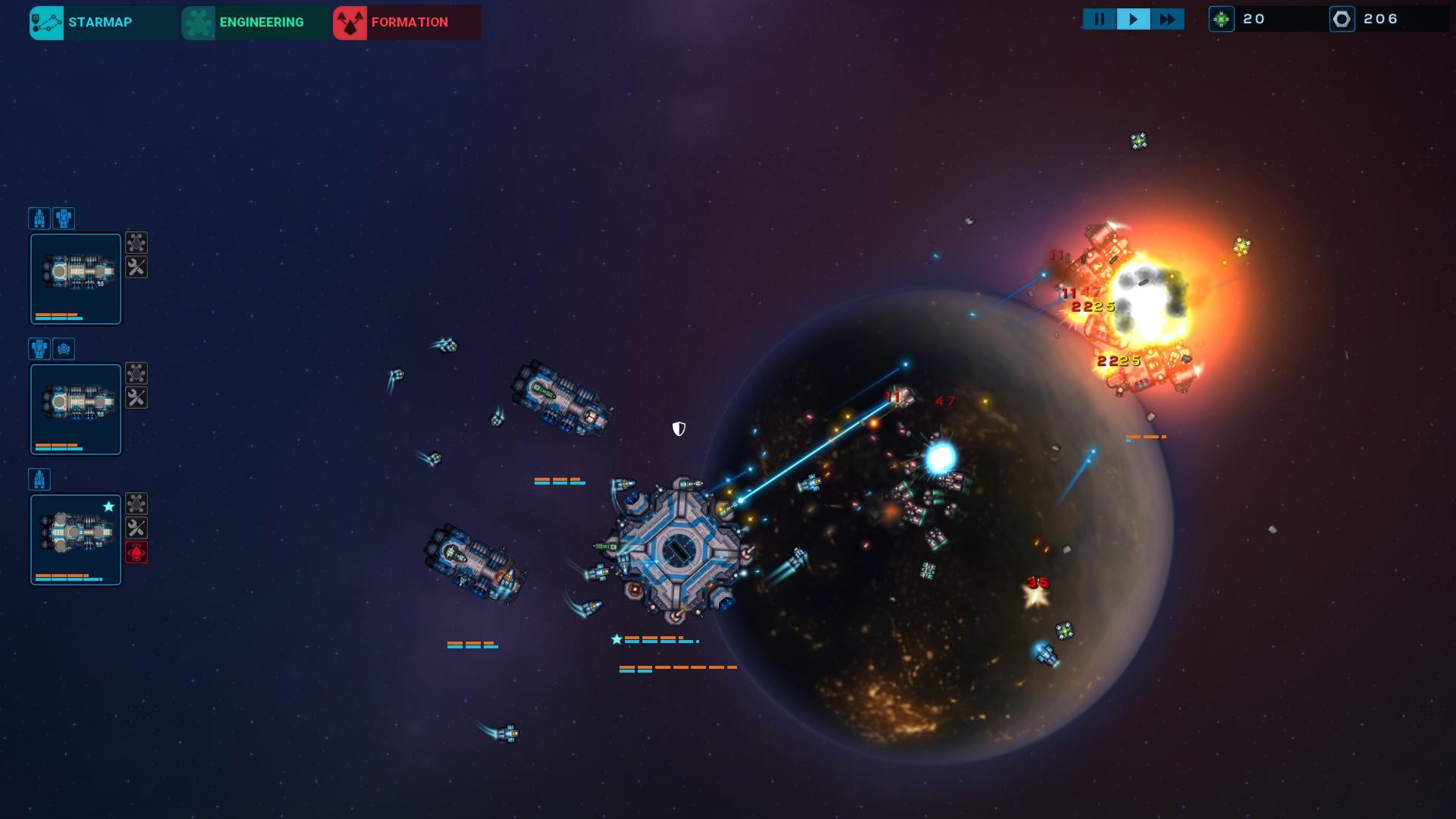 敵に追撃させ、宇宙基地を盾にする図。移動と戦術的撤退をくりかえし、敵の数を削りながら艦隊を育成しよう。マップ深部の探索は拠点となる宇宙基地を目標とすればよい。