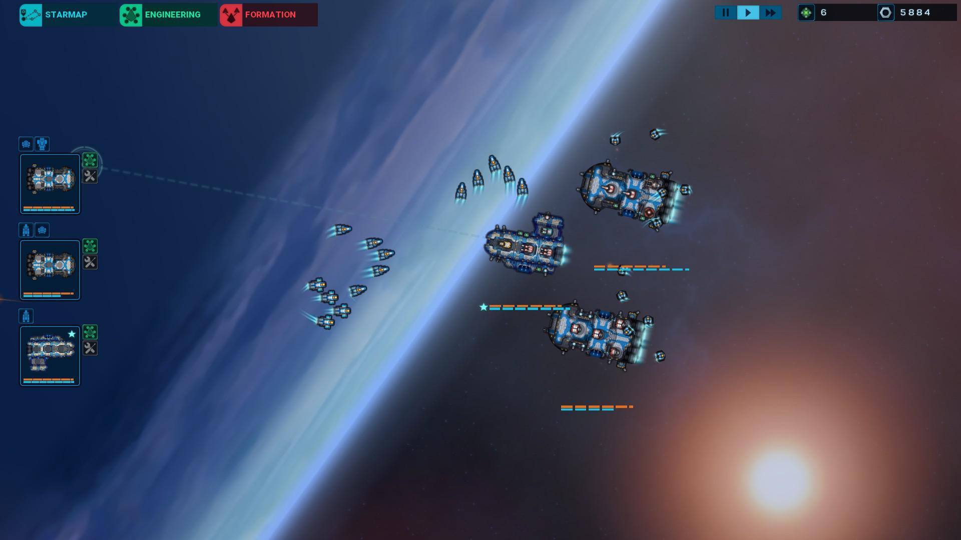 対空砲が弱いものもあるが、艦載機がとにかく有用だ。敵小型機に対処ができ、ミサイルも迎撃し、砲撃戦での弾よけにもなる。その結果、艦船をすべて空母種にし、艦載機を優先して改良する育成しかできない。
