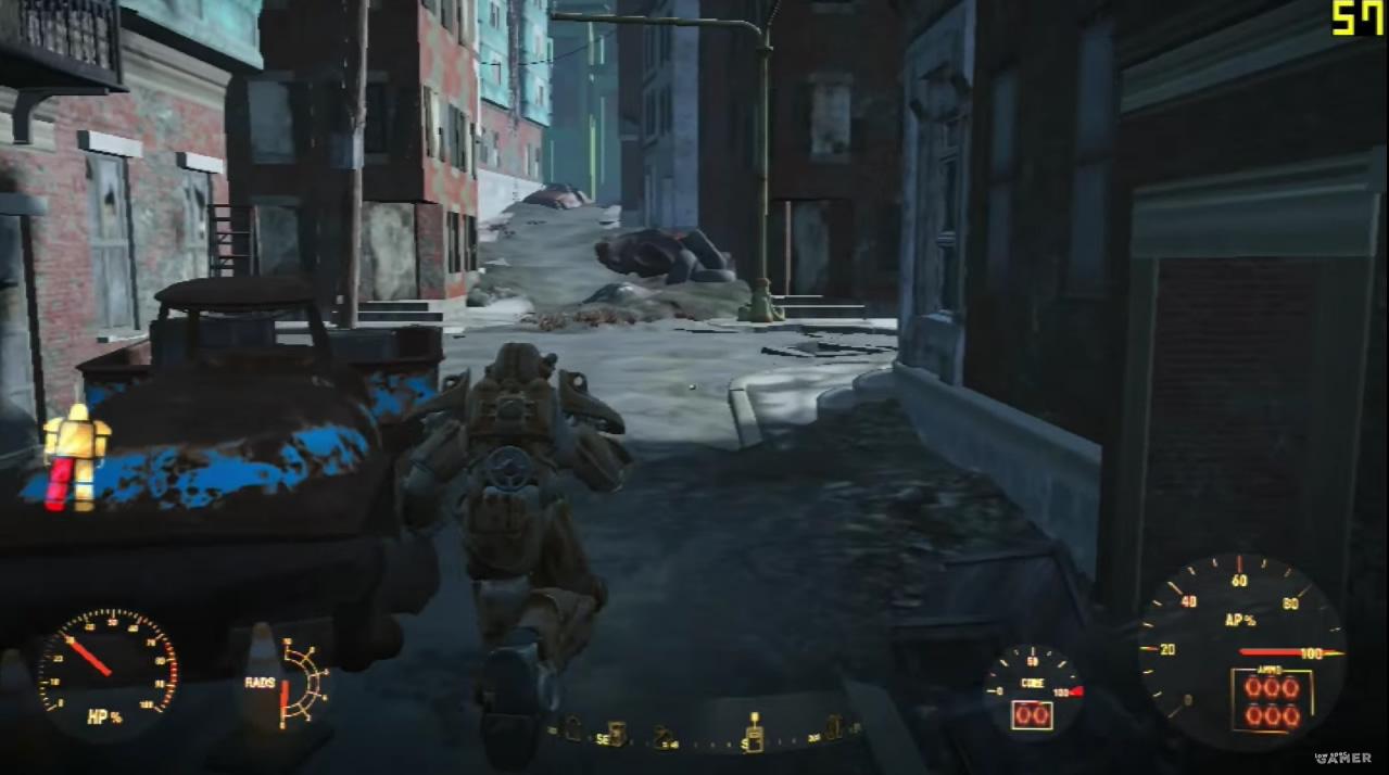 「見てくれよ、この解像度の低い建物!」ロースペック向けのセッティングで『Fallout 4』で、街を歩くLowSpecgamer氏はどこか楽しそうにも見える。
