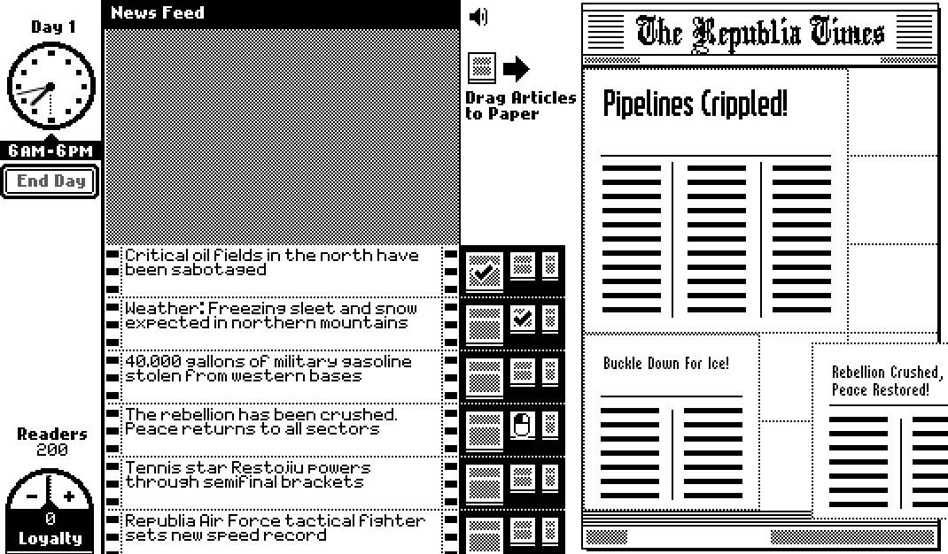 『Republia Times』は、プレイヤーは新聞記者となり、報道のバランスを決めるゲームだ。あまりに反政府的だと家族もろとも殺害されてしまう。こちらは無料公開中。