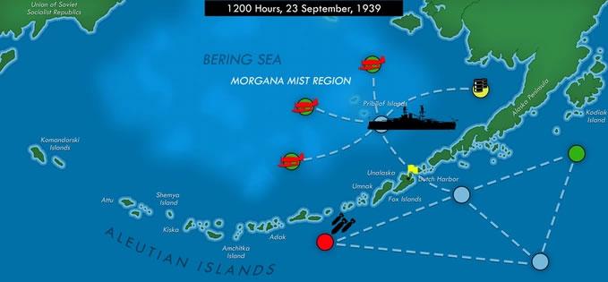 アリューシャン列島のキャンペーンシナリオ画面。Morganaの支配地域に対し、航路・偵察・爆撃等をプレイヤーが指示・決定する。