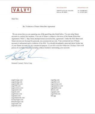 Valveが発行した停止通知書