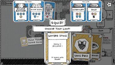 装備は頭・右手・左手・胴体の4つ。保管枠はない。交換時は得るカードと失うカードが表示される。困ったときは、高レベル+高レアリティのアイテムを選ぼう。