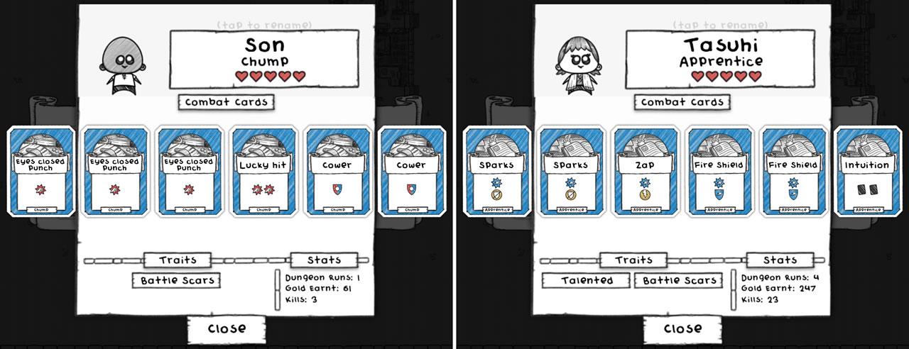 左: タダで手に入る最初の冒険者。右: ギルドを増築して得た冒険者。初期カードと比較するとキャラクターの強さが明白にちがう。ダンジョン攻略で特技や欠点が増えるものの、プラスの影響は微々たるもので育成要素は無いに等しい。この初期カードを強化・交換できれば、彼らが置物にならずに済んだ。