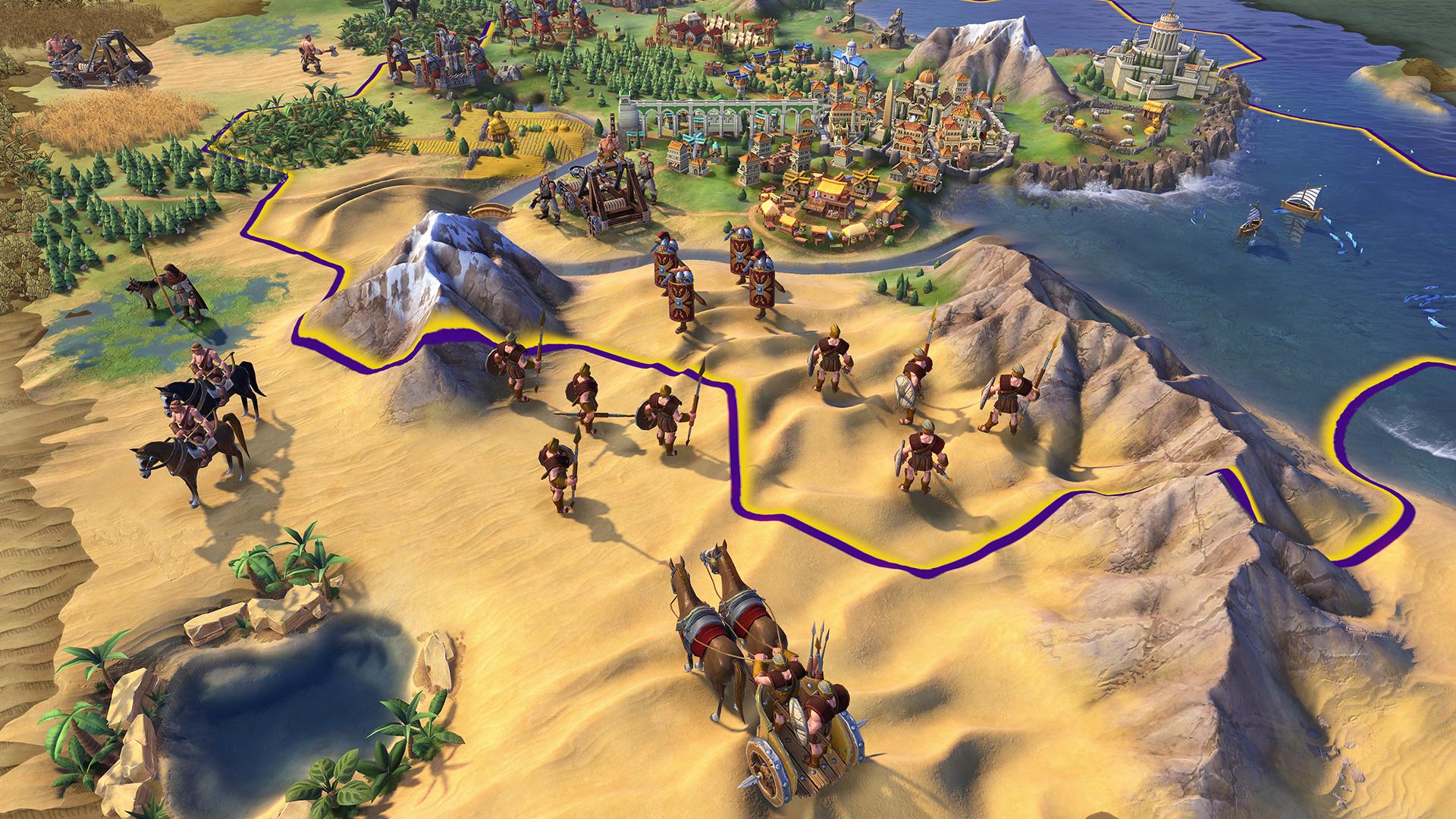 巨大なタワーシールドを構えローマの都市を防衛しているレギオン