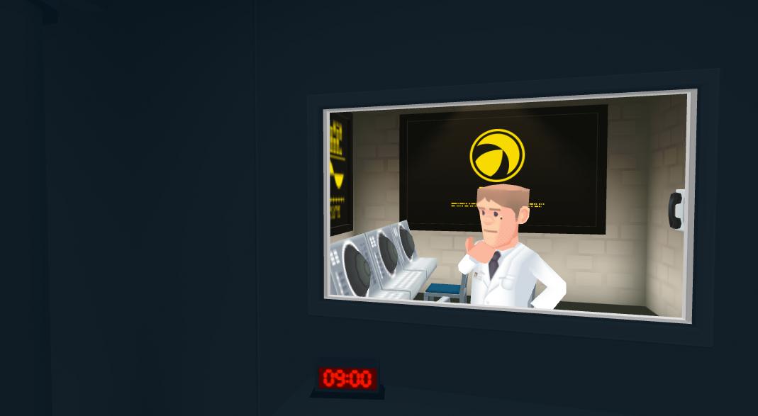 VRゴーグル側にはこのような、怪しげな施設の一室が映し出される。そのままぐるりと見回すとこのような人物が3人ほど作業をしているので、プレイヤーはその顔をできるだけ性格に脳裏に焼き付ける